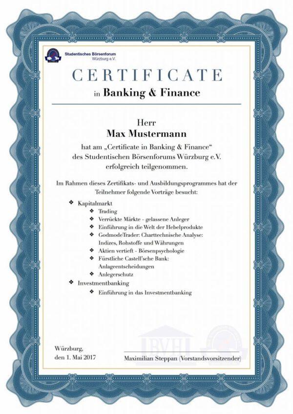 Certificate in B. & F.